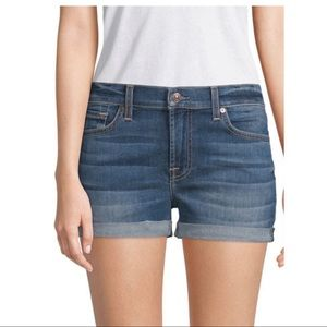 7 For All Mankind Cuffed Hemline Denim  Shorts